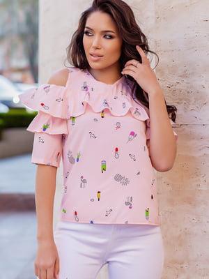 Блуза розовая в принт   5757536