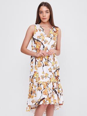 Платье белое в цветочный принт | 5760174