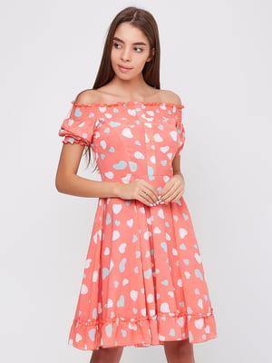 Платье розовое в принт | 5760188