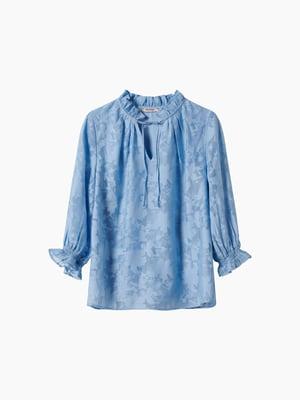 Блуза блакитна в принт | 5762885