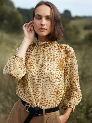 Блуза комбинированного цвета в анималистический принт | 5760275