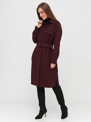 Пальто бордове в клітинку | 5760328