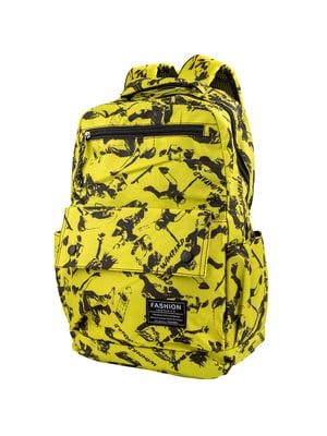 Рюкзак жовтий в принт | 5746119