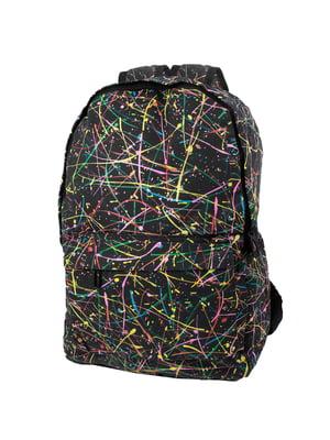 Рюкзак чорний в принт | 5746827