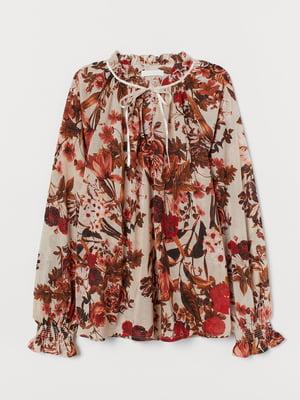 Блуза для кормящих кремового цвета в цветочный принт   5763604