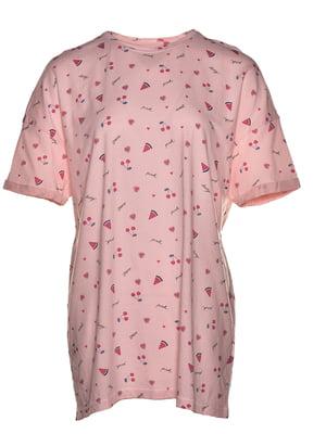 Футболка рожева з принтом | 5761326