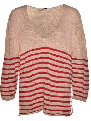 Пуловер бежевый в полоску | 5761412