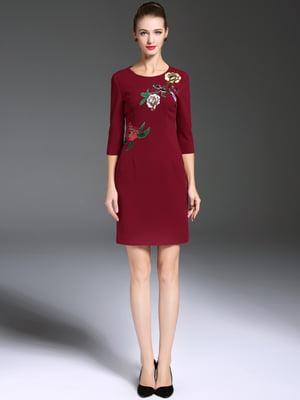 Платье бордовое с вышивкой   5760954