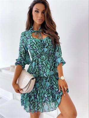 Сукня бірюзова в принт | 5760590