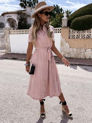 Платье пудрового цвета в принт | 5760571