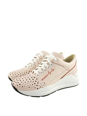 Кросівки кольору пудри з логотипом | 5764085