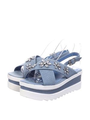 Босоніжки блакитні з декором   5764642