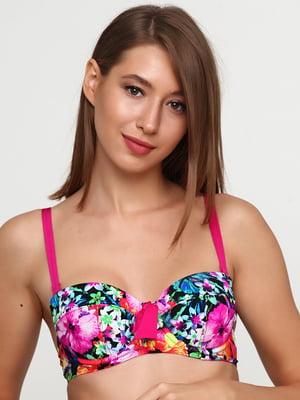 Бюстгальтер купальний комбінованого кольору в квітковий принт   5765974