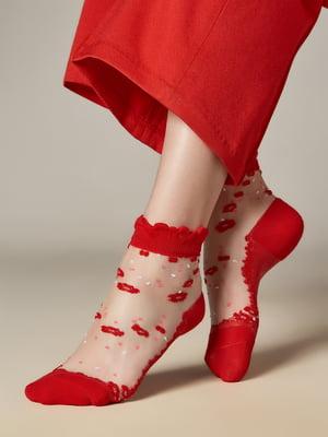 Носки красные в принт | 5766847
