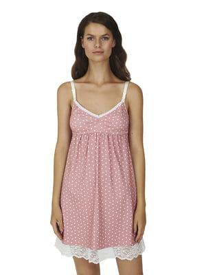 Нічна сорочка рожева у горошок | 5766947