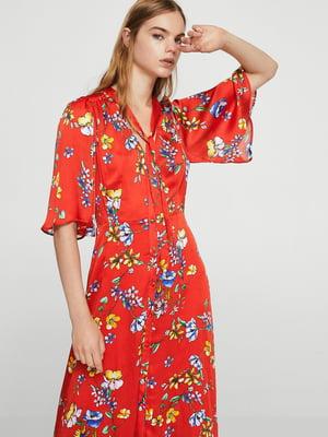 Платье красное в цветочный принт | 5674572