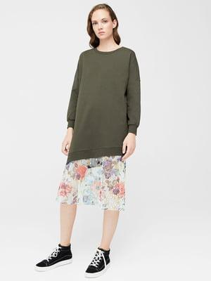 Платье цвета хаки в цветочный принт | 5767255