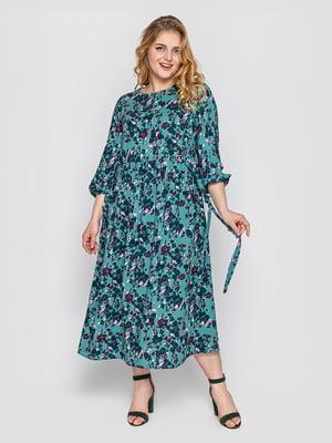 Платье голубое в цветочный принт | 5768284