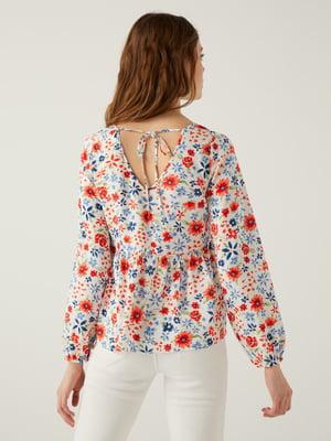 Блуза біла в квітковий принт   5768555