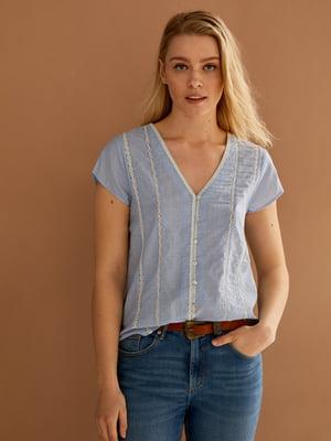 Блуза-сорочка блакитна в смужку   5768556