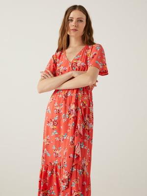 Сукня коралового кольору в квітковий принт   5768562