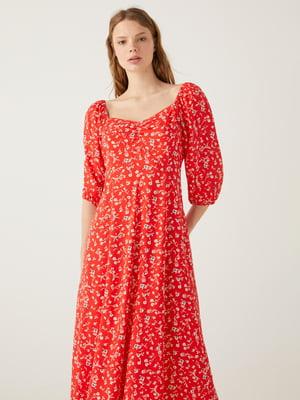 Сукня червона в квітковий принт   5768564