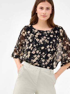 Блуза чорна у принт | 5769513