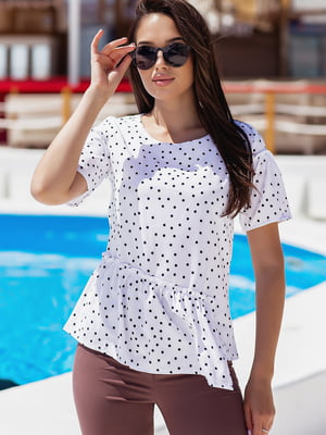 Блуза белая в горошек   5770175