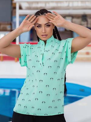 Блуза бірюзова в принт   5770179
