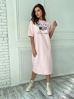 Платье пудрового цвета с принтом | 5770047