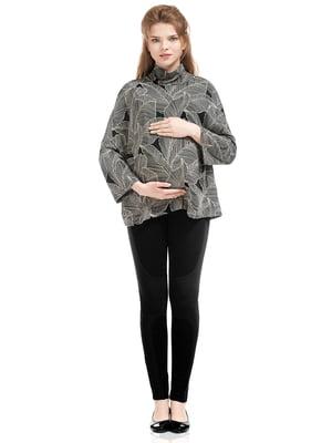 Гольф для беременных серо-черный в принт | 5770498