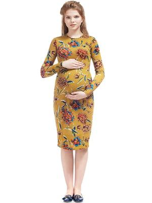 Сукня для вагітних гірчичного кольору у квітковий принт   5770536