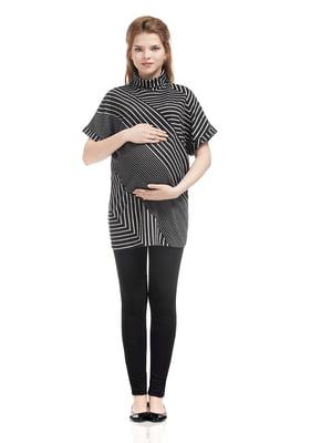 Туніка для вагітних сіро-чорна у смужку | 5770540