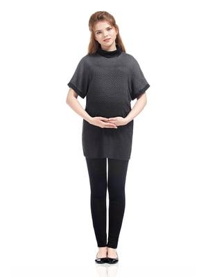 Туніка для вагітних сіро-чорна у візерунок | 5770541
