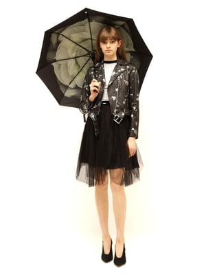 Зонт черный в принт | 5771453