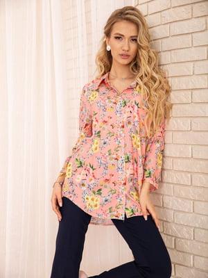 Рубашка персикового цвета в цветочный принт | 5772752