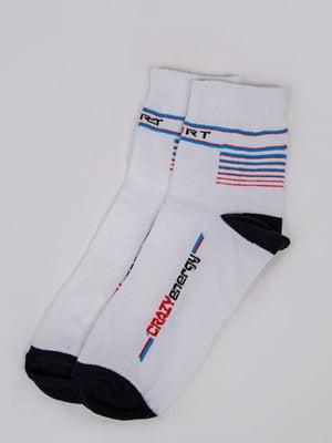 Шкарпетки білі в смужку і в принт | 5773123