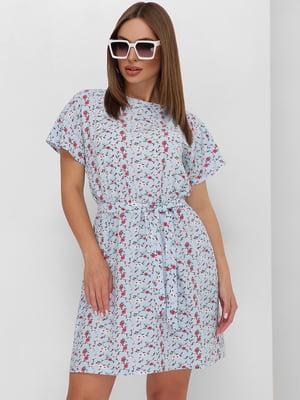 Платье голубое в цветочный принт   5773769