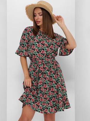 Платье черное в цветочный принт   5773774
