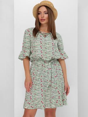 Платье зеленое в цветочный принт   5773775
