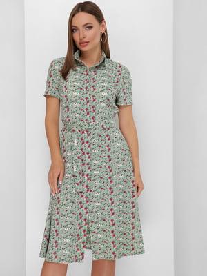 Платье зеленое в цветочный принт | 5773783
