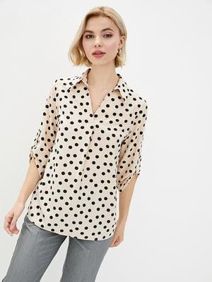 Блуза бежевая в горошек | 5772124