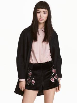 Шорти чорні з квітковою вишивкою   5509538