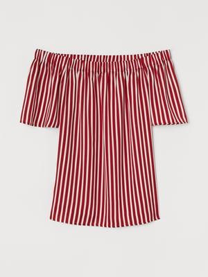 Блуза червона в смужку | 5774083
