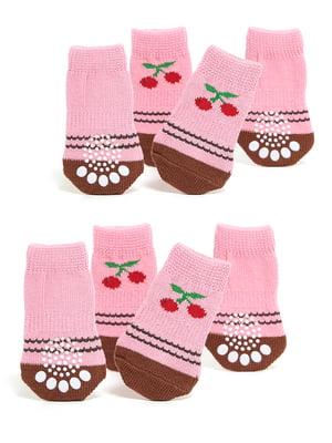 Шкарпетки рожеві з малюнком для собак маленьких порід   5775461
