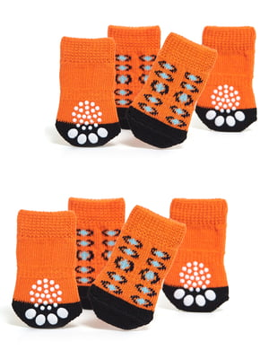 Шкарпетки помаранчево-чорні з малюнком для собак мініатюрних порід   5775479