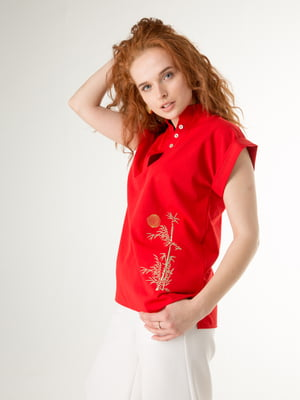 Блуза красная с рисунком   5776833
