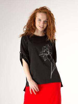 Блуза чорна з малюнком | 5776852