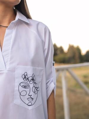 Рубашка-туника белая с рисунком | 5776858