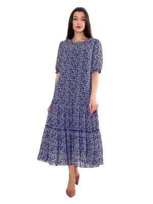 Сукня синя в принт | 5776911